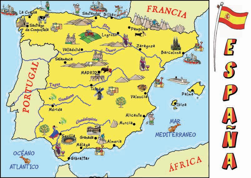 Map Of Spain With Mountains.Cultural Map Of Spain Spain